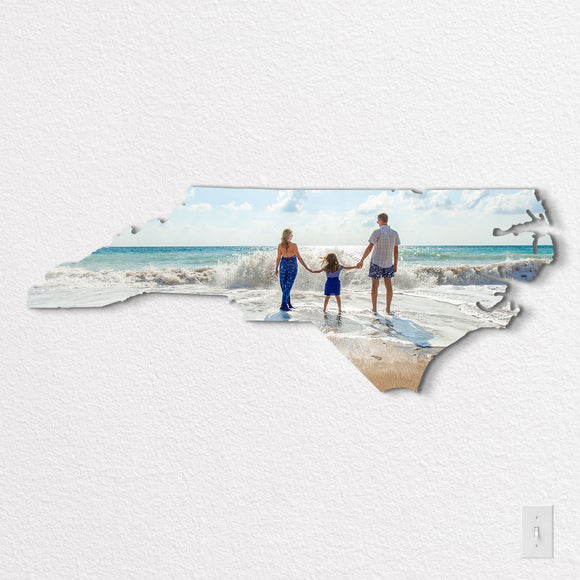 North Carolina State Shaped Metal Print on White Wall