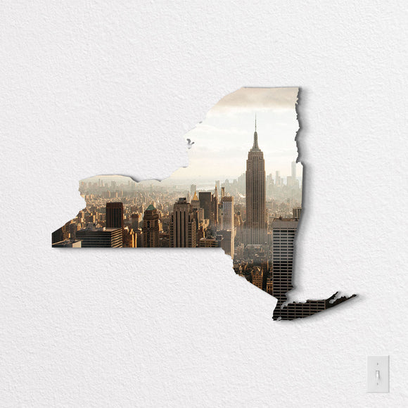 New York State Shaped Metal Print on White Wall