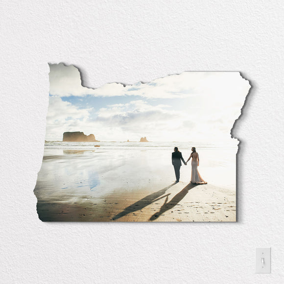 Oregon State Shaped Metal Print on White Wall