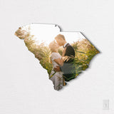 South Carolina State Shaped Metal Print on White Wall