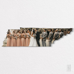 Tennessee State Shaped Metal Print on White Wall