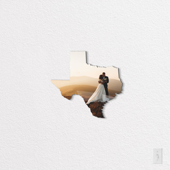 Texas State Shaped Metal Print on White Wall