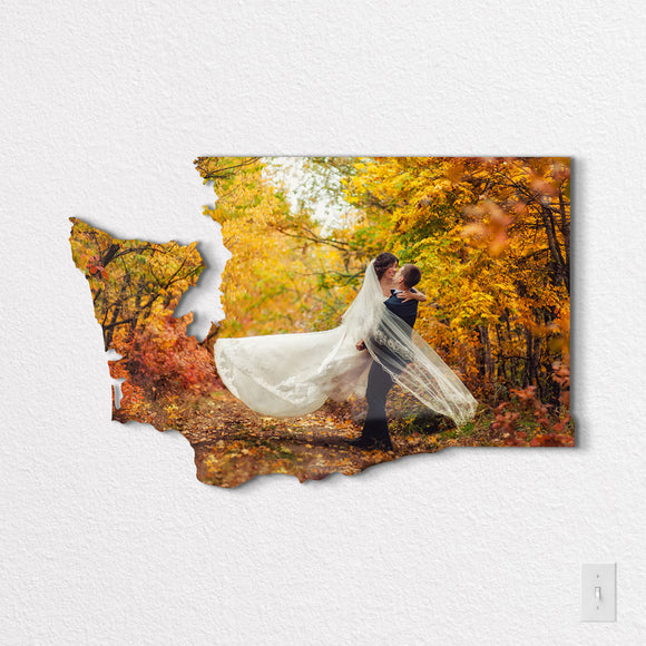 Washington State Shaped Metal Print on White Wall