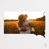 South Dakota State Shaped Metal Print on White Wall