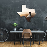 State of Texas shaped metal print with wedding photo in urban room