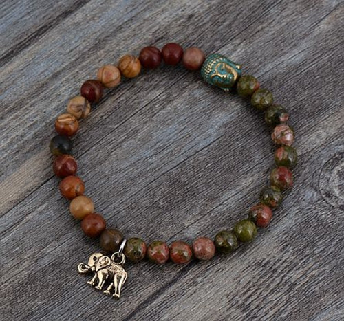 Boho Natural Stone Elephant Buddha Charm Stretch - Gypsy and the Wolf