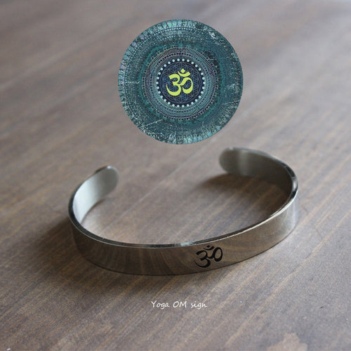 Stainless Steel Yoga OM Sign Bangle For - Gypsy and the Wolf