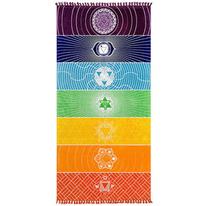 Colorful Rainbow Chakra Throw - Gypsy and the Wolf