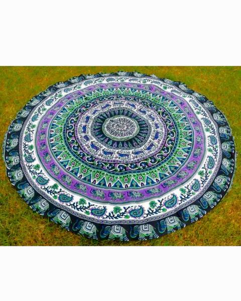 Indian Elephant Type Round Mat Scarve Fashion Mandala Tapestry - Gypsy and the Wolf