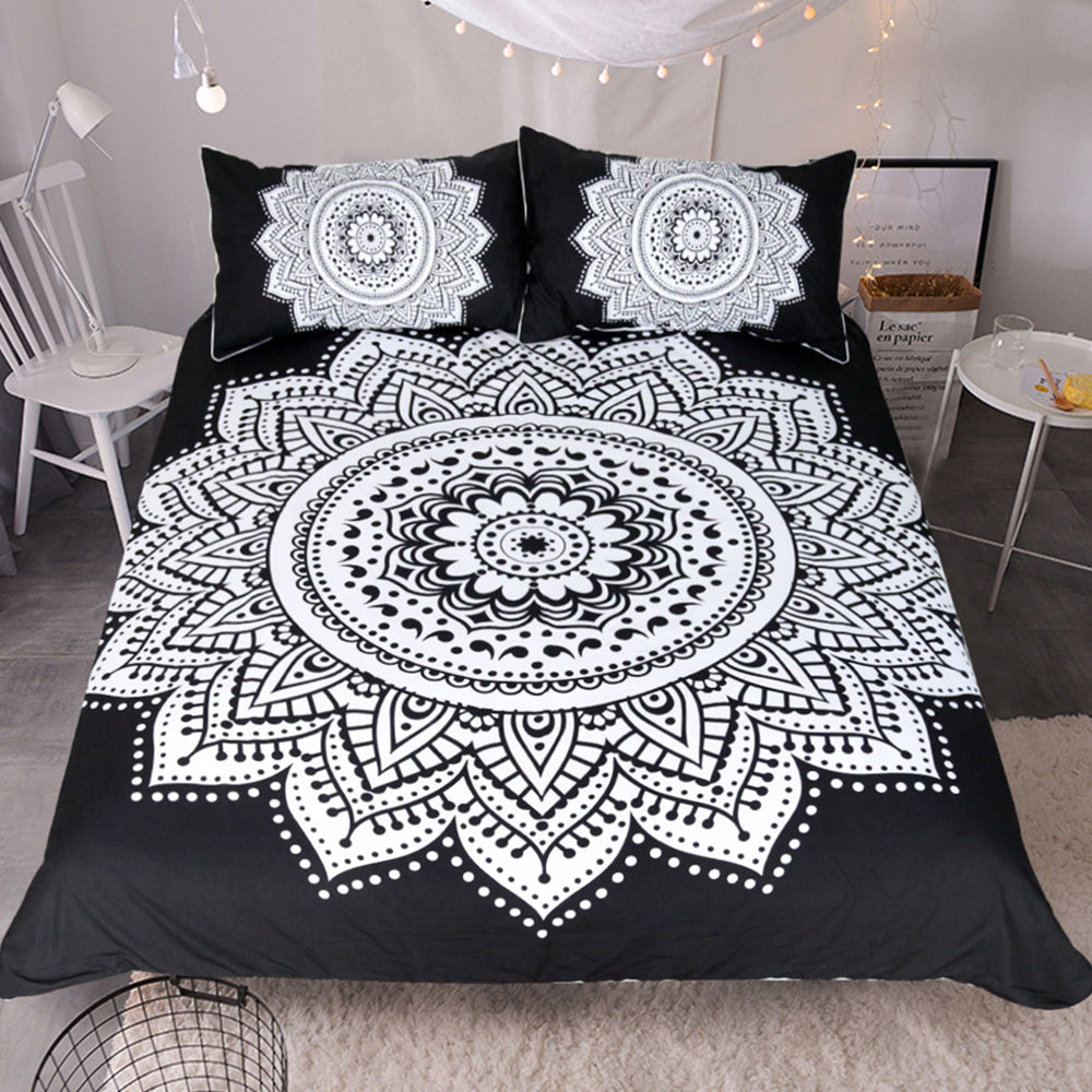 Black & White Mandala Bed Set - Gypsy and the Wolf