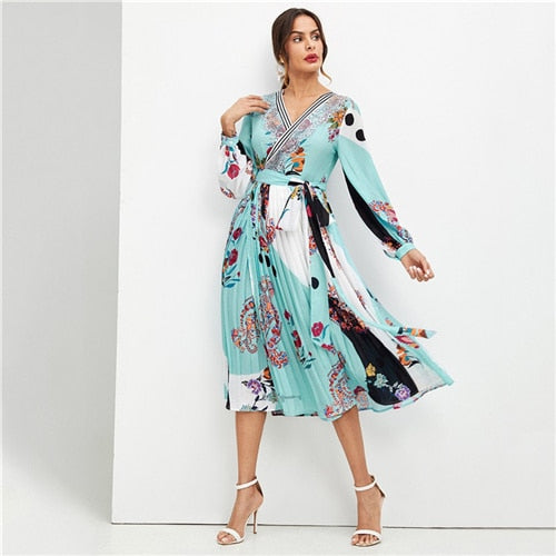 Beach Mixed Print Surplice Neck Pleated Belted Dress - Gypsy and the Wolf