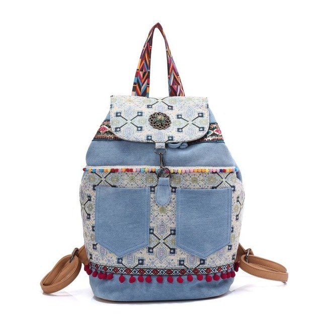Canvas bohemian hippies shoulder bag pocket strawing tassels - Gypsy and the Wolf
