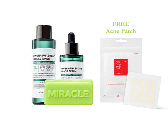 [SOME BY MI] AHA BHA PHA 30 Days Miracle Toner + Miracle Serum + Cleansing Bar+Free Acne Patch - beautique-online