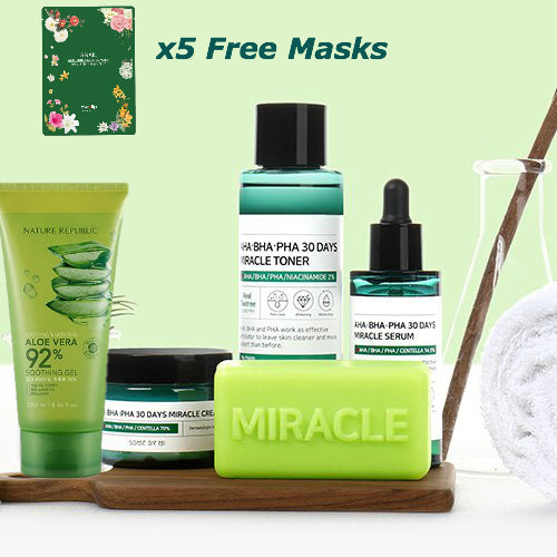 Full Miracle [SomebyMi] Set + [Nature Republic] Aloe Vera gel in tube + 5 Facial Sheet Masks (mix) - beautique-online