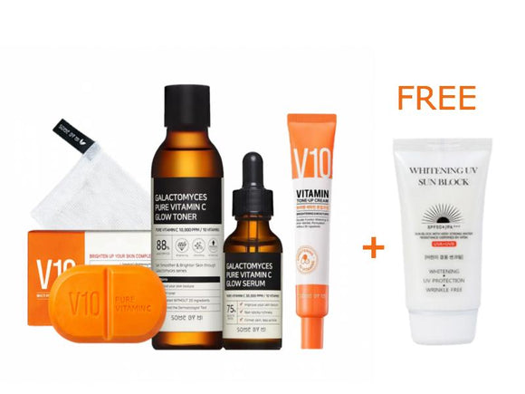 [Special Offer Some By Mi Full Vitamin C Set+ Free Gift] - Galactomyces Toner + Galactomyces Serum + V10 cream + V10 soap + [JIGOTT] Whitening UV Sun Block - beautique-online