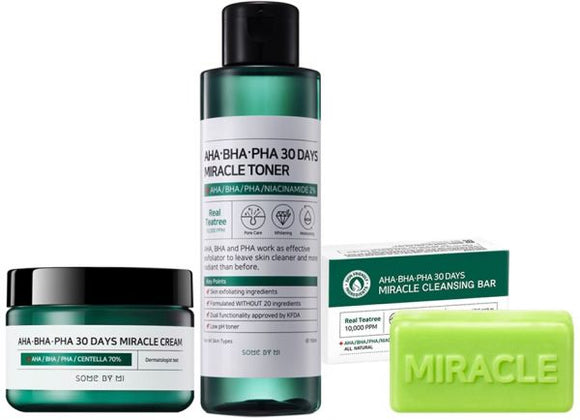 [SOME BY MI] AHA BHA PHA 30 Days Miracle Cream + Miracle Toner + Cleansing Bar