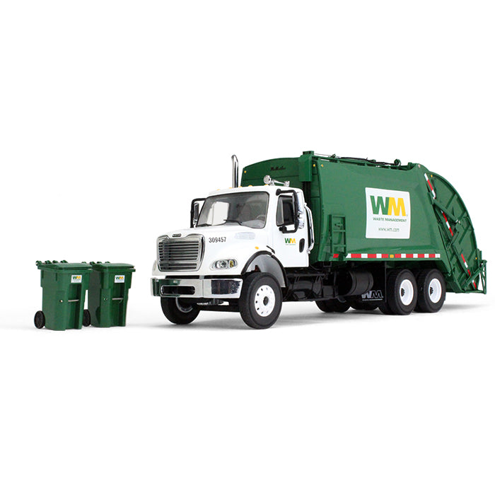 Freightliner M2 w/ McNeilus Rear Load Refuse Truck & Trash Carts 1:34 Diecast Model - First Gear 10-3287T