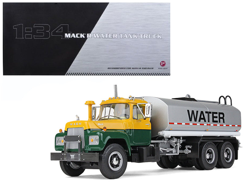 Mack R Water Tank Truck Yellow/Green/Silver 1/34 Diecast Model Car - First Gear - 10-4069