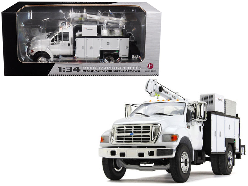 Ford F-650 w/ Maintainer Service Body White 1/34 Diecast Model Car - First Gear - 10-4107