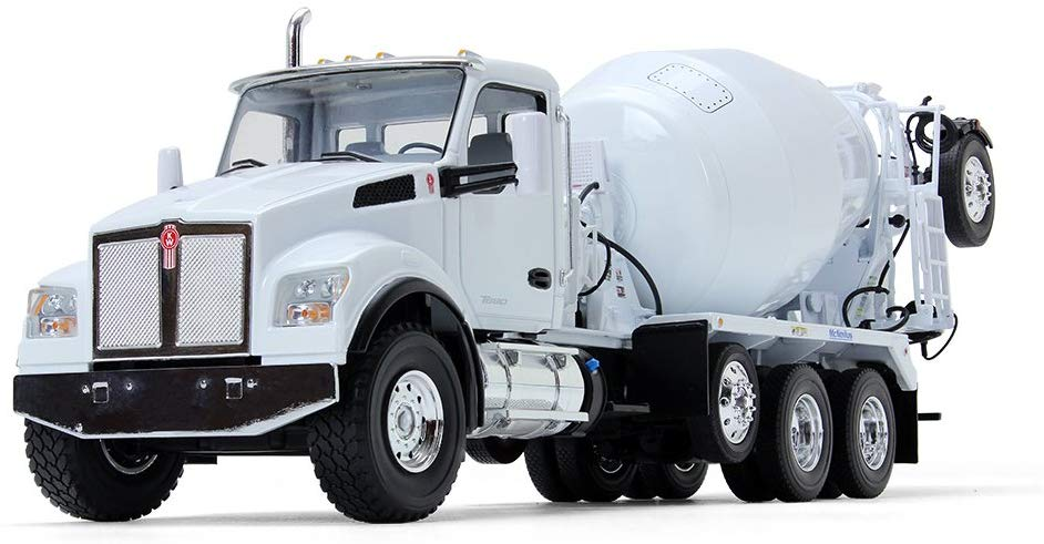 Kenworth T880S w/ McNeilus Bridgemaster Mixer White 1/34 Scale Collectible Diecast - First Gear - 10-4145