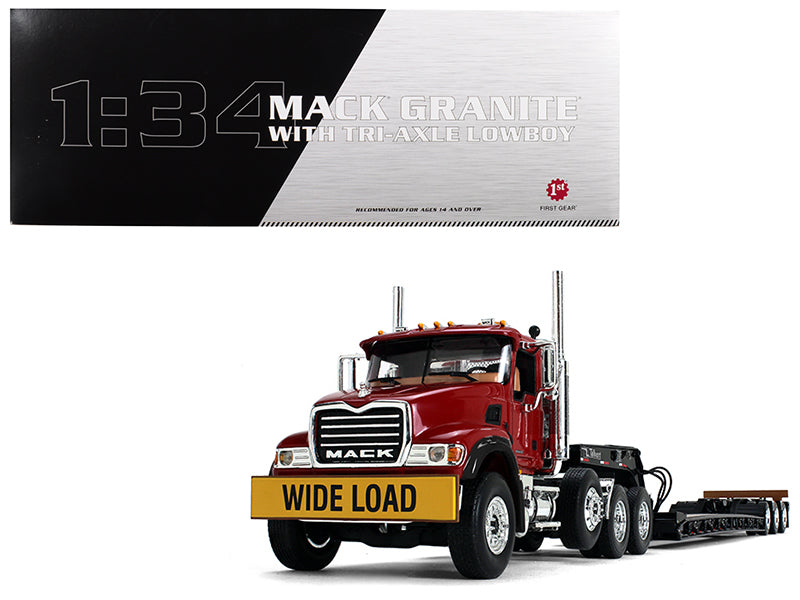 Mack Granite w/ Tri Axle Lowboy Trailer Cherry Red 1/34 Diecast Model - First Gear - 10-4150