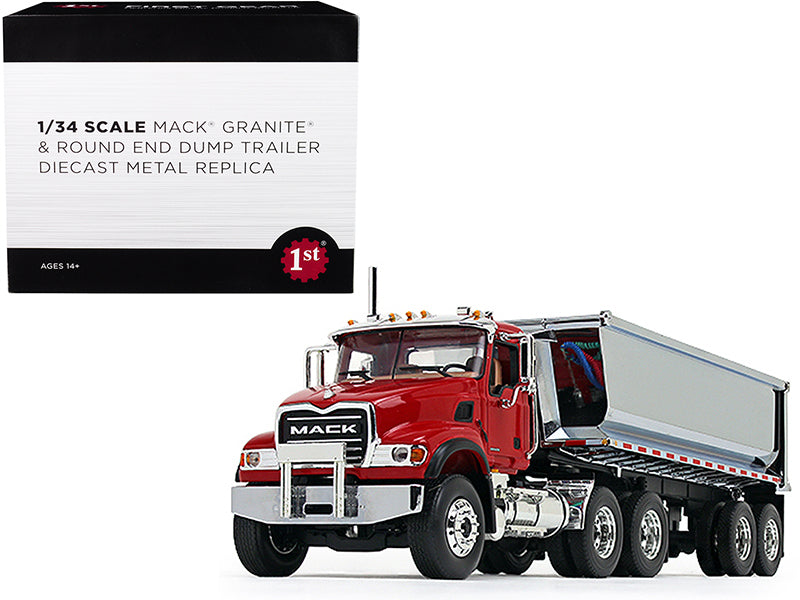 Mack Granite with Round End Dump Trailer Red and Chrome 1/34 Diecast Model - First Gear - 10-4181