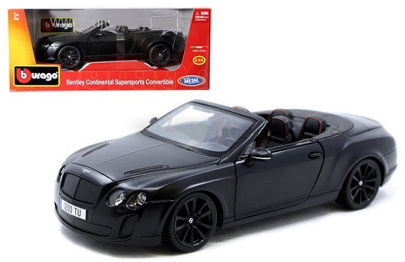 Bentley Continental Supersport Matte Black 1:18 Model Car - Bburago - 11035MJBK