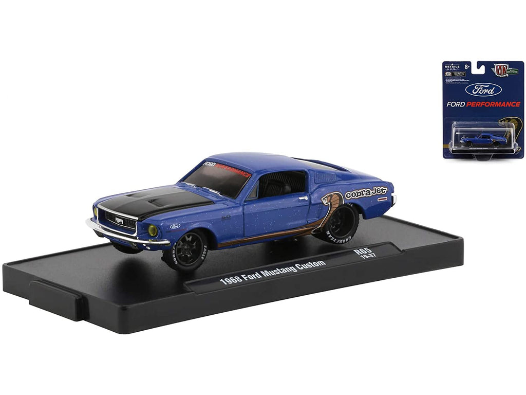 "1968 Ford Mustang Cobra Jet Custom Blue Metallic with Black Hood and Dark Tinted Windows ""Ford Performance"" ""Drivers"" Series in Blister Pack Release 65 Diecast 1:64 Model Cars - M2 Machines 11228-65"