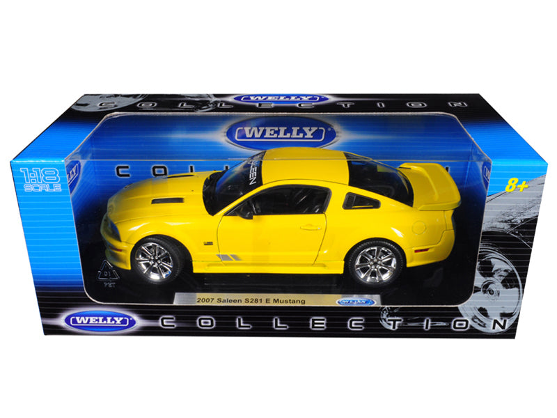 2007 Ford Mustang Saleen S281E Yellow 1:18 Diecast Model Car - Welly - 12569