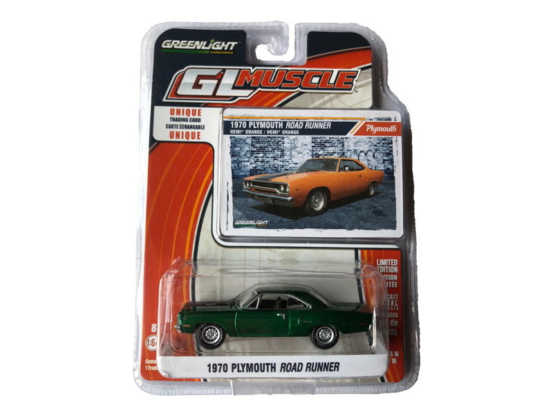 1970 Plymouth Road Runner Muscle Series 16 1:64 Scale Diecast Car - Greenlight - 13160 - CHASE GREEN MACHINE