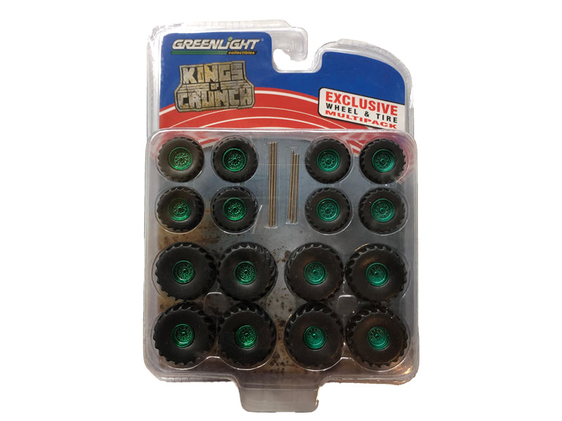 """Monster Trucks"" Wheel & Tire Multipack ""Kings of Crunch"" Set of 24 pieces 1:64 Scale - Greenlight - 13169 - CHASE GREEN MACHINE"