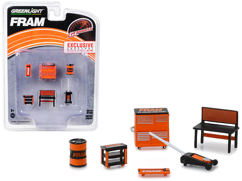 "Muscle Shop 6 piece Set Shop Tools ""FRAM Oil Filters"" 1:64 Scale - Greenlight - 13173"