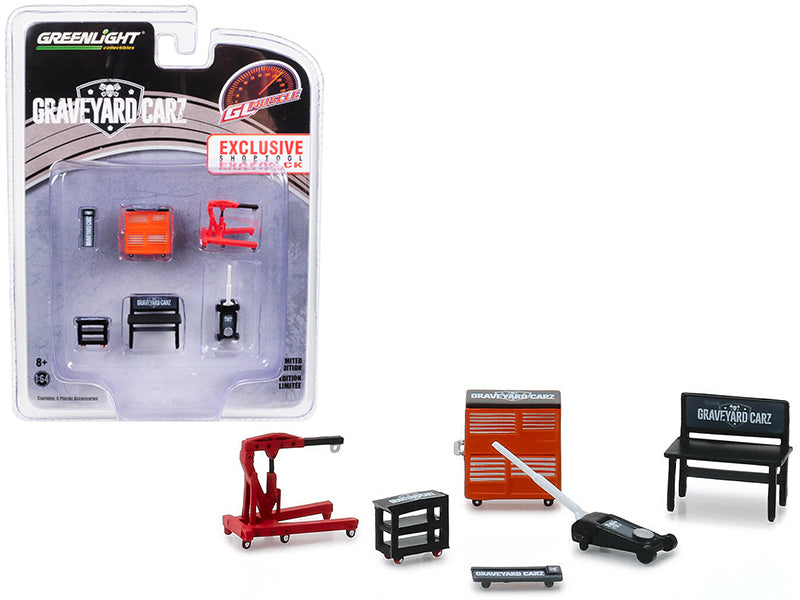 "Muscle 6 piece Set Shop Tools ""Graveyard Carz"" (2012) TV Series 1/64 - Greenlight - 13174"