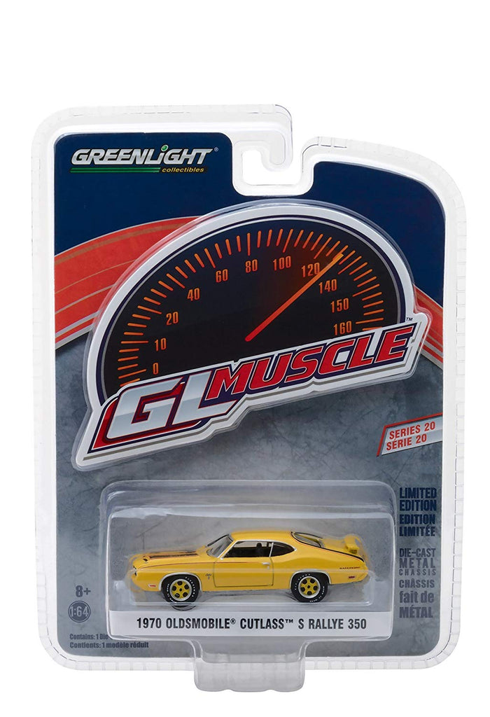 1970 Oldsmobile Cutlass S Rallye 350 Yellow w/ Black Stripes Greenlight Muscle Series 20 1:64 Diecast Model Car - Greenlight - 13210C
