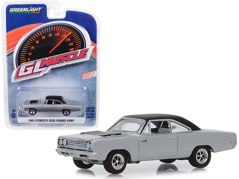"1968 Plymouth Road Runner Hemi Buffed Silver w/ Black Top ""Greenlight Muscle"" Series 22 1/64 Diecast Model Car - Greenlight - 13250B"
