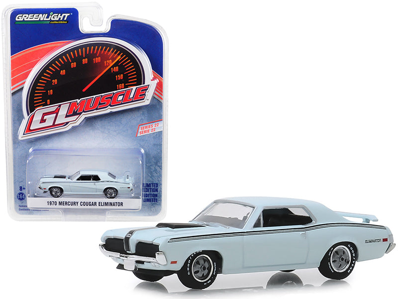 "1970 Mercury Cougar Eliminator Pastel Blue w/ Black Stripes ""Greenlight Muscle"" Series 22 1/64 Diecast Model Car - Greenlight - 13250C"