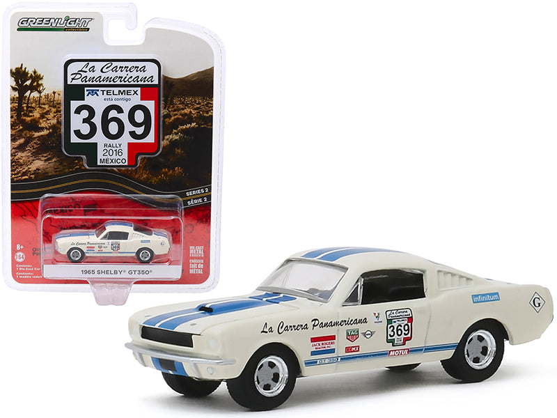 "1965 Ford Mustang Shelby GT350 #369 (Rally Mexico 2016) ""La Carrera Panamericana"" Series 2 Diecast 1:64 Model Car - Greenlight 13260D"