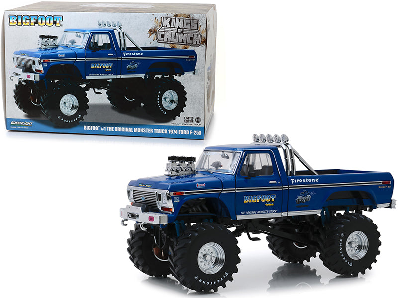 "1974 Ford F-250 Bigfoot #1 The Original Monster Truck Blue w/ 48-Inch Tires ""Kings of Crunch"" 1/18 Diecast Model Car - Greenlight - 13537"
