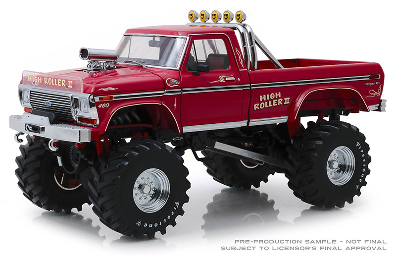 "High Roller II 1979 Ford F-250 Monster Truck with 48"" Tires ""Kings of Crunch"" 1:18 Diecast Model - Greenlight - 13542"