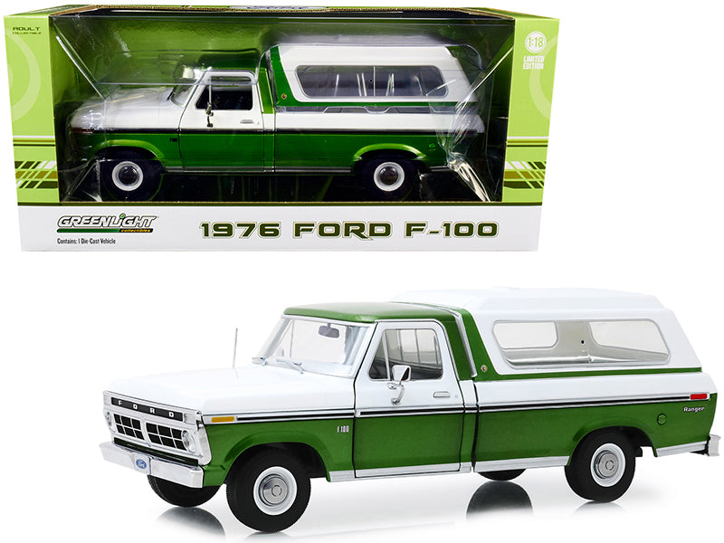 1976 Ford F-100 Ranger Pickup Truck with Deluxe Box Cover Medium Green Glow Metallic and Wimbledon White 1:18 Diecast Model - Greenlight 13545
