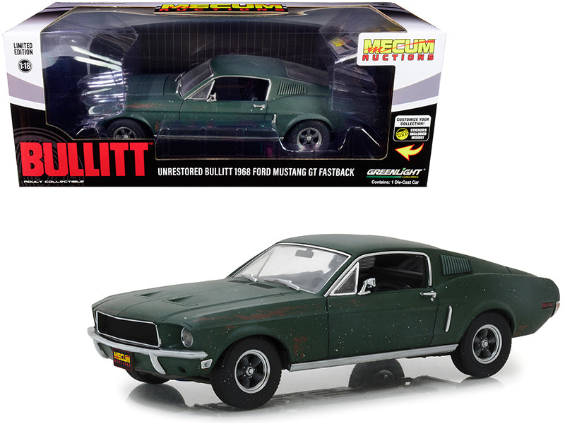 "1968 Ford Mustang GT Fastback Green (Unrestored) ""Bullitt"" Kissimmee, Florida (2020) ""Mecum Auctions Collector Cars"" 1/18 Diecast Model Car - Greenlight - 13551"