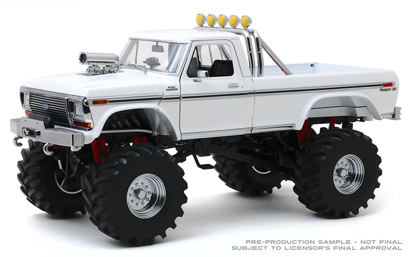 "1979 Ford F-250 XLT Monster Truck in White with 48"" Tires ""Kings of Crunch"" 1:18 Diecast Model - Greenlight - 13556"