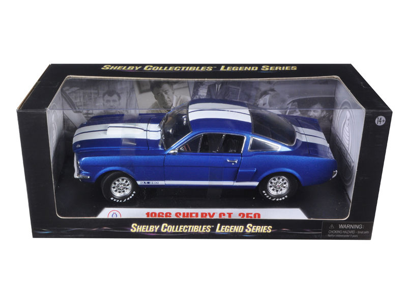 1966 Shelby Mustang GT350 - 1:18 Shelby Collectible Blue w/ White Stripes - Shelby Collectables - 152BL