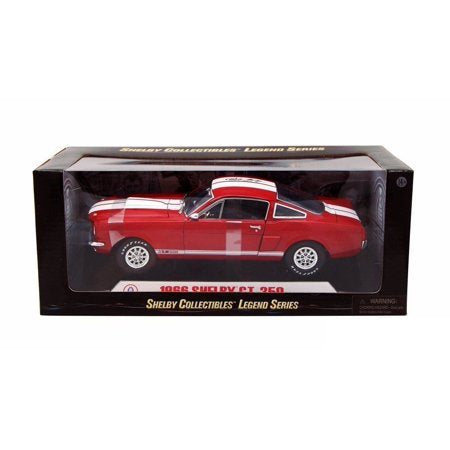 1966 Shelby Ford Mustang GT350 Diecast 1:18 Model Red w/ White Stripes - Shelby Collectables - 154RD