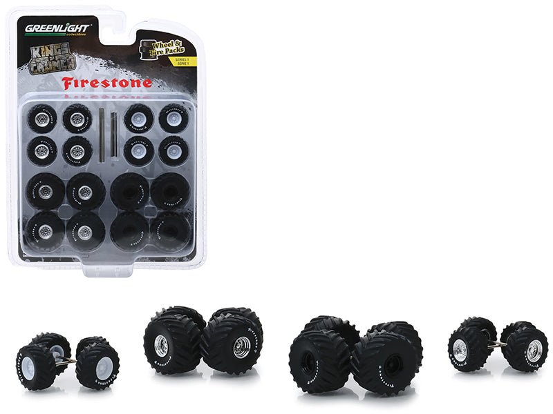 """Firestone"" Wheel & Tire Multipack ""Kings of Crunch"" Set of 24 pieces ""Wheel & Tire Packs"" Series 1 1:64 Scale - Greenlight - 16010A"