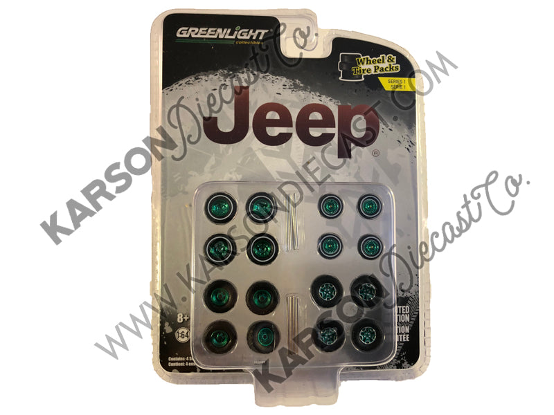 """Jeep"" Wheel & Tire Multipack Set of 24 pieces ""Wheel & Tire Packs"" Series 1 1:64 by Greenlight - 16010 - CHASE GREEN MACHINE"