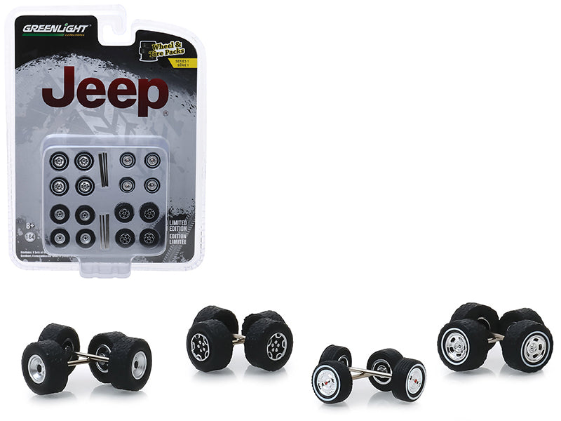 """Jeep"" Wheel & Tire Multipack Set of 24 pieces ""Wheel & Tire Packs"" Series 1 1:64 by Greenlight - 16010C"