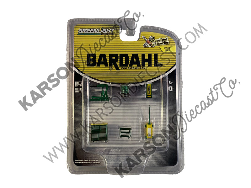 "CHASE ""Bardahl"" 6 piece Shop Tools Set ""Shop Tool Accessories"" Series 1 1/64 - Greenlight - 16020A"