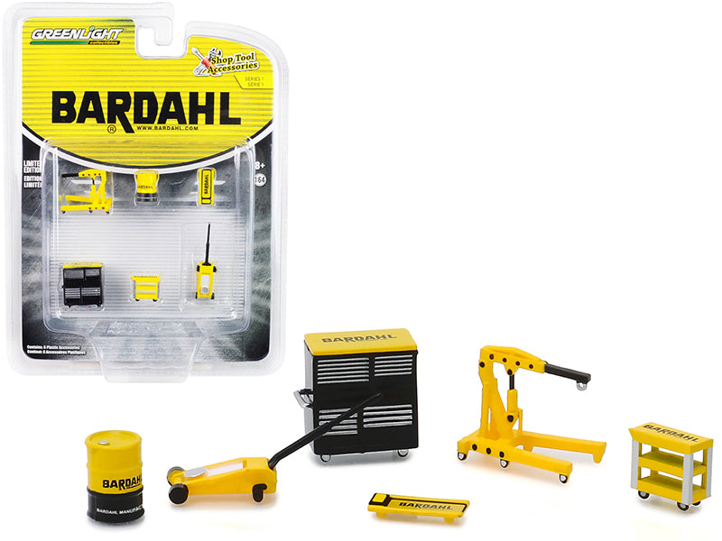 """Bardahl"" 6 piece Shop Tools Set ""Shop Tool Accessories"" Series 1 1/64 - Greenlight - 16020A"
