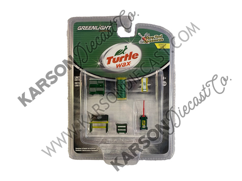 "CHASE ""Turtle Wax"" 6 piece Shop Tools Set ""Shop Tool Accessories"" Series 1 1/64 - Greenlight - 16020C"